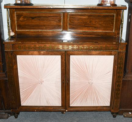 A Regency rosewood and brass inlaid chiffonier, early 19th Century, the superstructure with three-