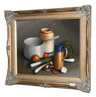 George Reekie (20th/21st century) Still life of assorted vessels and vegetables Signed, oil on