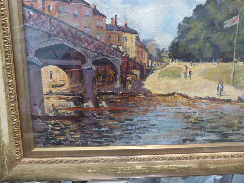 After Alfred Sisley, Hampton Court Bridge, Bears signiture S Lepine (18)74, oil on board, 31cm by - Image 8 of 9