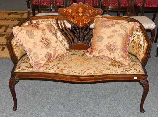 A small Edwardian inlaid mahogany parlour sofa, 114cm by 55cm by 84cm. Structurally sound, few