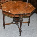 An Edwardian inlaid rosewood plant table 89cm by 69cm