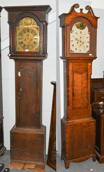 An oak thirty hour longcase clock, painted arch dial signed R.Weston, Wolsingham, later case,