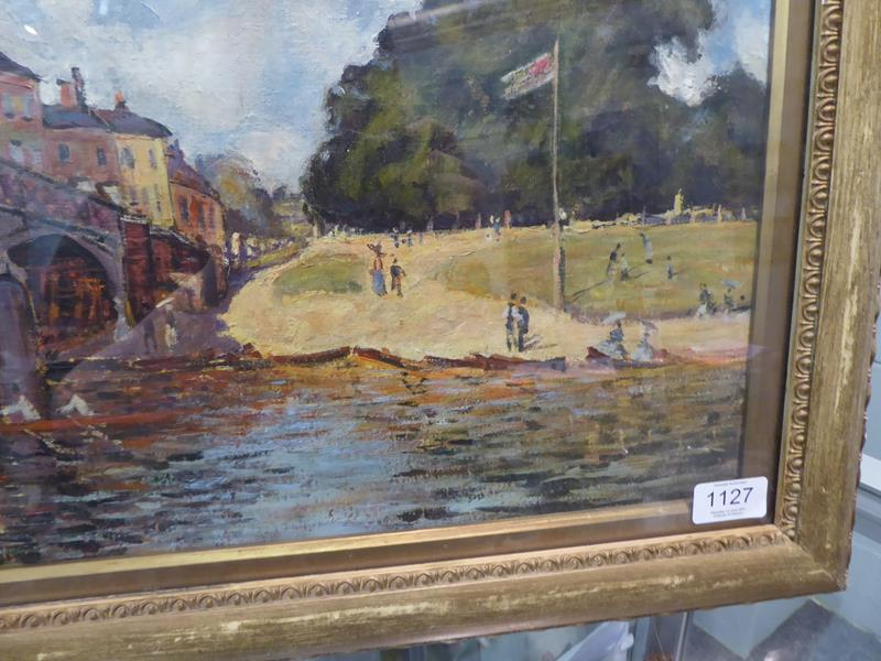 After Alfred Sisley, Hampton Court Bridge, Bears signiture S Lepine (18)74, oil on board, 31cm by - Image 7 of 9