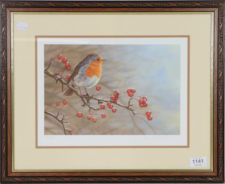 A set of limited edition Robert Fuller prints, a robin, blue tit and woodpecker, 24cm by 33cm (3) - Image 3 of 3