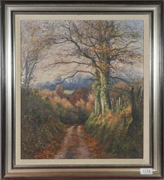 Mervyn Goode, oak leaves in the deep lane, signed oil on canvas, 44.5cm by 39cm, together with H - Image 3 of 3