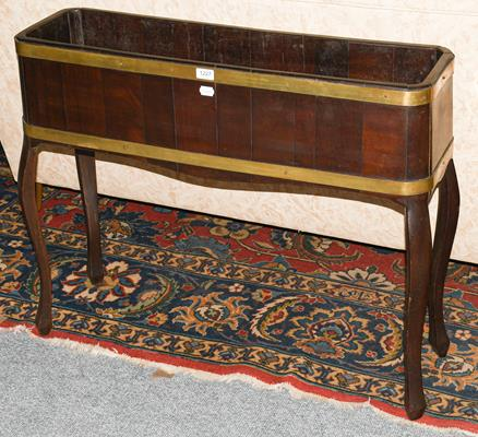 A brass mounted mahogany planter, 92cm by 27cm by 76cm