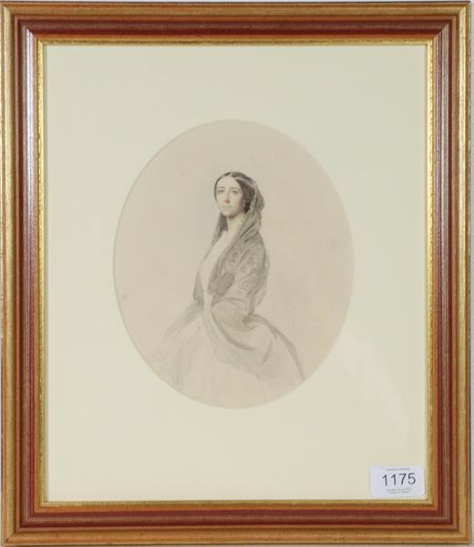 English School (19th century) Portrait study of a lady, pencil and watercolour, 20cm by 17cm