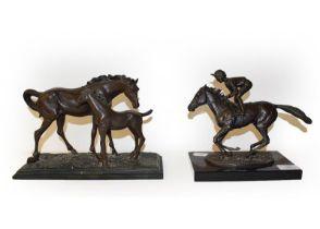 David Cornell (b. 1953) Champion Finish, bronze sculpture of Nijinsky with Lestor Pigott up, with