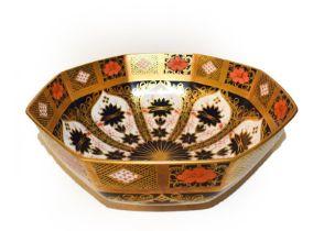 A Royal Crown Derby Imari octagonal bowl, pattern 1128, 28cm wide. First quality, no damage or