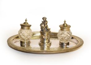 A silver plated inkwell desk stand, presentation inscription ''Presented to James Powell Esq,