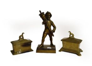 Art Deco figural table lighter, two tobacco jars and three metal sculptures (6)