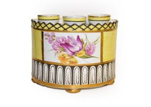 Three early 19th century pearlware yellow ground bough pots, with gilt edging and enamelled with
