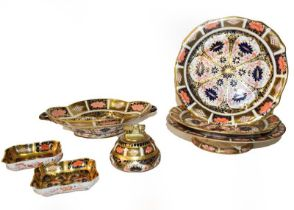 A quantity of Royal Crown Derby Imari, including a quatrefoil twin handled dish, a pair of plates, a