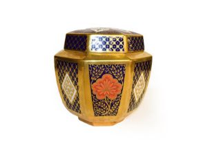 Moores china figural oil lamp base with gilt decoration, Caverswall Imari ginger jar and cover, a