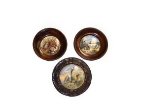 A quantity of 19th century Prattware pot lids, some framed (one tray)