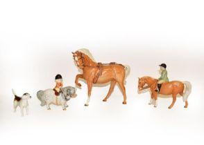 Beswick Boy on Pony, model No. 1500, palomino gloss, together with Horse (Head Tucked, Leg Up),