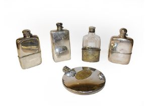 Five silver plated spirit flasks, one incorporating a cigarette case (one tray)