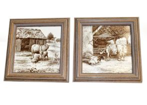 A set of six framed 6'' tiles, designed by William Wise, Country Animals
