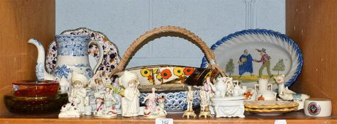 A quantity of assorted ceramics and glass to including Victorian fairings, Pearlware coffee pot,