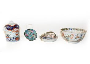 A quantity of mainly Chinese porcelain including a Kangxi fluted bowl painted in the famille verte