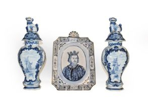 A quantity of 19th century and later Delft and Faience, including a pair of blue and white jars