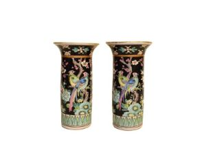 A pair of modern Chinese famille noir cylinder vases, 16cm high, a Royal Doulton series ware oval