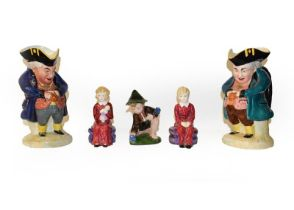 A tray of mixed ceramics including Royal Worcester flat back jug, a pair of paragon figures of David