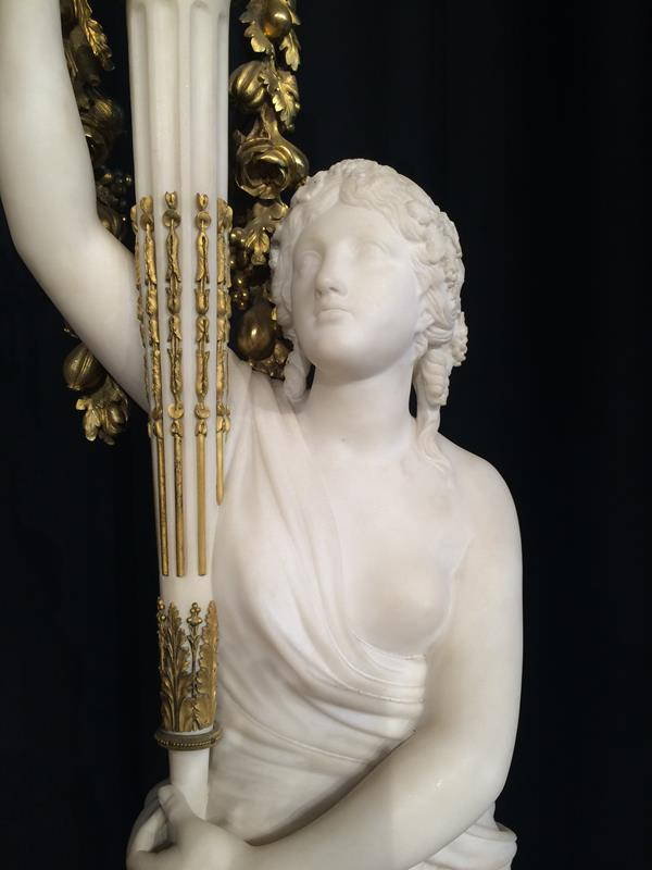 A Pair of French Ormolu-Mounted, White Marble and Porphyry Candelabra, signed Joan F.R. Lorta, - Image 31 of 44