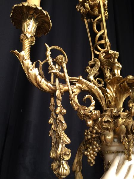 A Pair of French Ormolu-Mounted, White Marble and Porphyry Candelabra, signed Joan F.R. Lorta, - Image 24 of 44