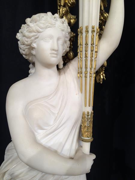 A Pair of French Ormolu-Mounted, White Marble and Porphyry Candelabra, signed Joan F.R. Lorta, - Image 17 of 44