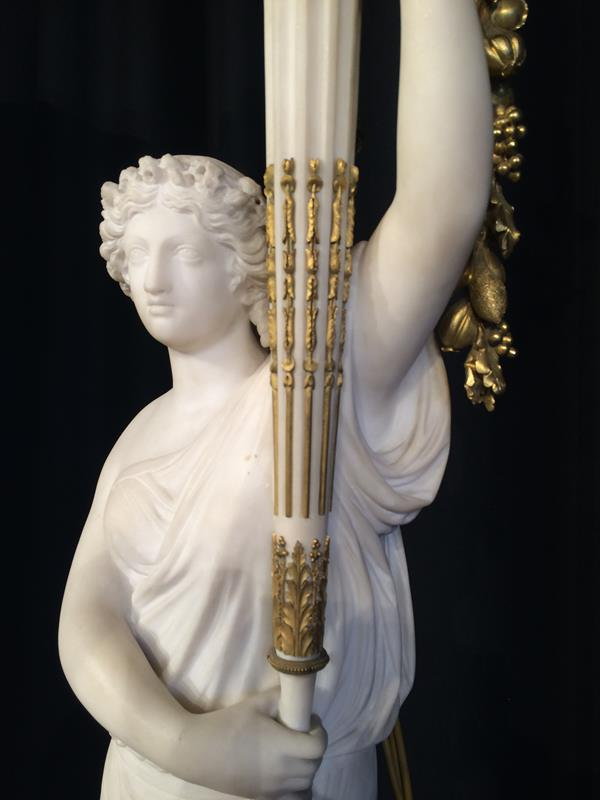 A Pair of French Ormolu-Mounted, White Marble and Porphyry Candelabra, signed Joan F.R. Lorta, - Image 30 of 44