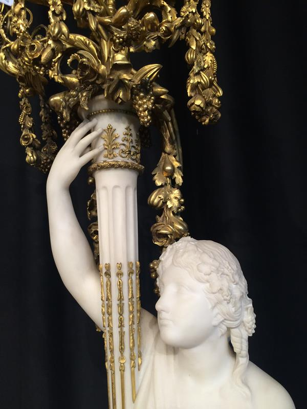 A Pair of French Ormolu-Mounted, White Marble and Porphyry Candelabra, signed Joan F.R. Lorta, - Image 38 of 44