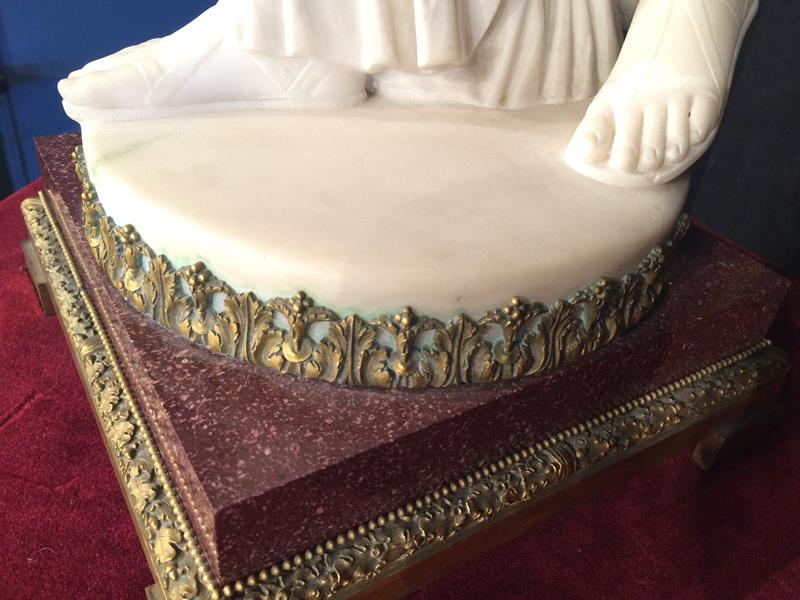 A Pair of French Ormolu-Mounted, White Marble and Porphyry Candelabra, signed Joan F.R. Lorta, - Image 40 of 44