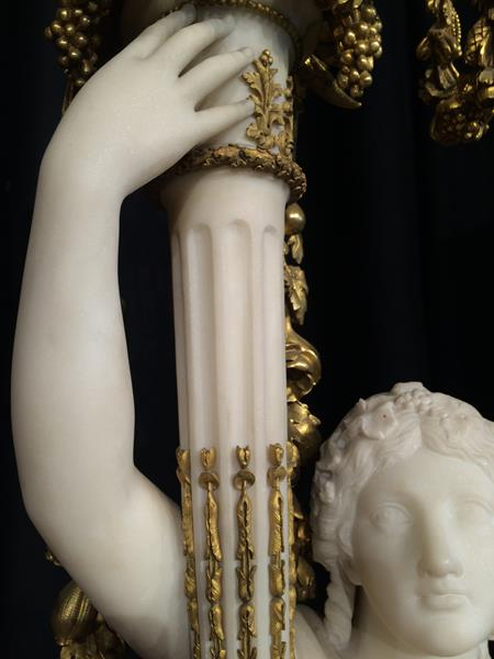 A Pair of French Ormolu-Mounted, White Marble and Porphyry Candelabra, signed Joan F.R. Lorta, - Image 23 of 44