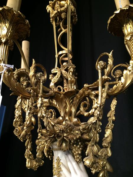 A Pair of French Ormolu-Mounted, White Marble and Porphyry Candelabra, signed Joan F.R. Lorta, - Image 20 of 44