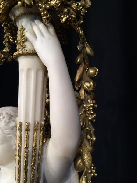 A Pair of French Ormolu-Mounted, White Marble and Porphyry Candelabra, signed Joan F.R. Lorta, - Image 19 of 44
