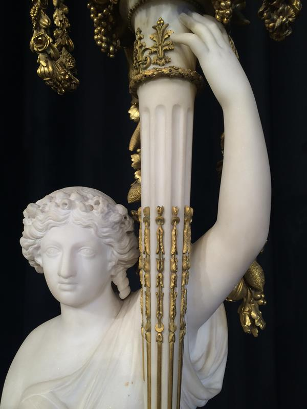 A Pair of French Ormolu-Mounted, White Marble and Porphyry Candelabra, signed Joan F.R. Lorta, - Image 39 of 44
