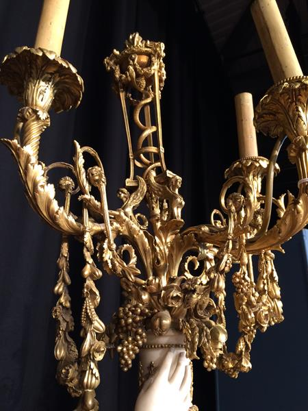 A Pair of French Ormolu-Mounted, White Marble and Porphyry Candelabra, signed Joan F.R. Lorta, - Image 25 of 44