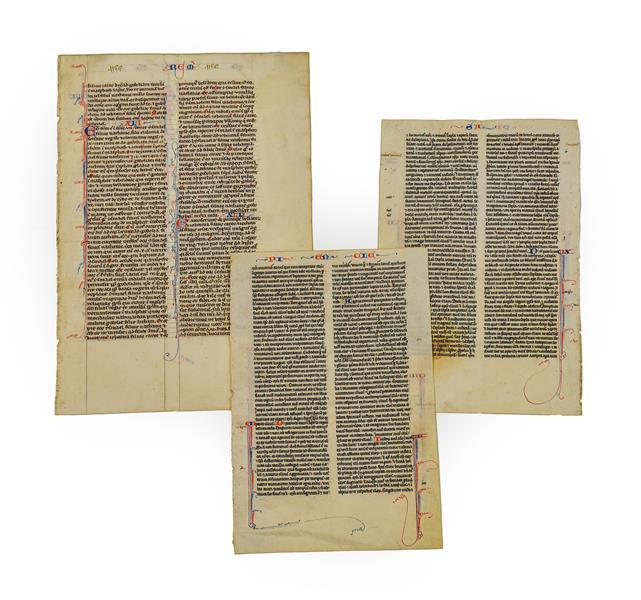 Bible (Latin). Single leaf from Jeremiah XLI-XLIII, probably Paris, c.1300, manuscript in brown