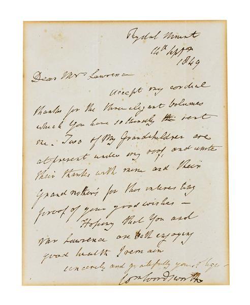 Wordsworth (William, 1770-1850). Autograph letter signed, Rydal Mount, 14 September 1849, single