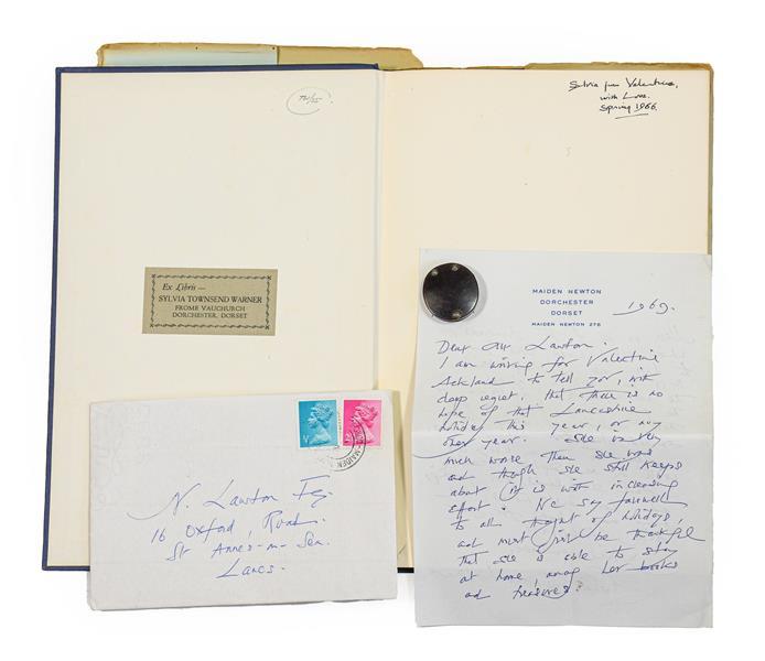 Warner (Sylvia Townsend, 1893-1978). Autograph letter signed, Maiden Newton, Dorset, 13 October