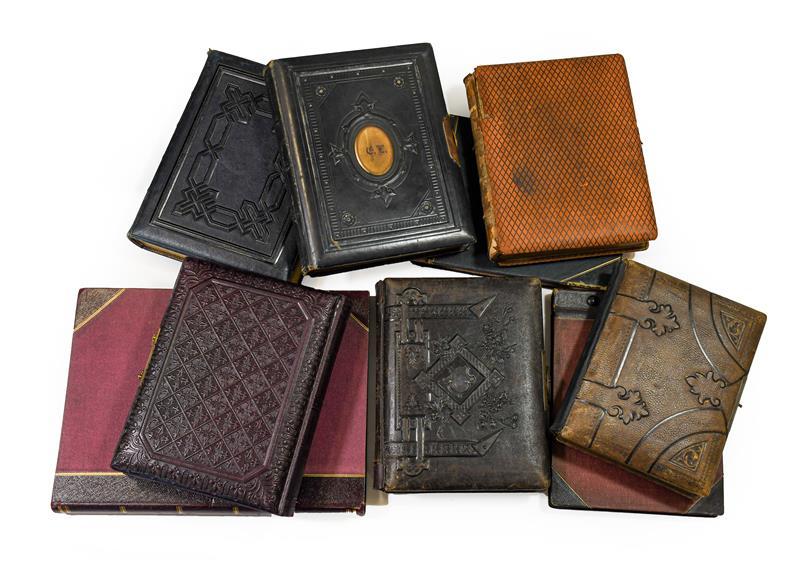 Cartes de visite. An album of about 80 cartes de visite, c.1870. 4to album (305 x 230 mm),