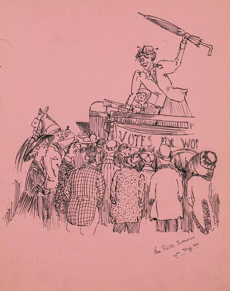 Suffragettes. Album of autographs and sketches, 1910-15. 4to (226 x 176 mm), contemporary maroon