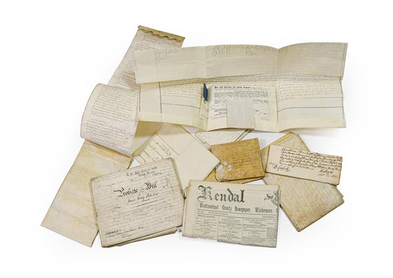 Vellum documents. Small group of vellum documents, 17th-19th century, comprising: 1) Inventory of