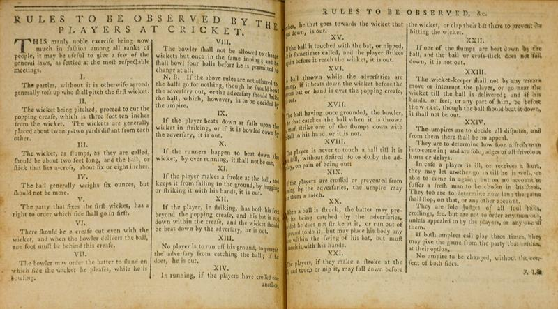 Cricket. 'Rules to be observed by the players at cricket' [2 pp., printed in:] The Sky-Lark: