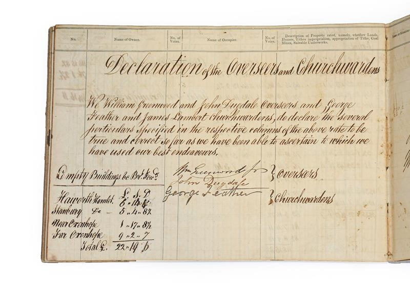 Brontë Family. 'Form of Rate. An Assessment for the Relief of the Poor of the Township of Haworth in - Image 2 of 12