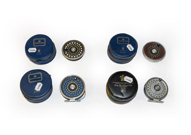 A Hardy Marquis #7 Multiplier Fly Reel along with a Hardy Marquis #10 fly reel and two spare