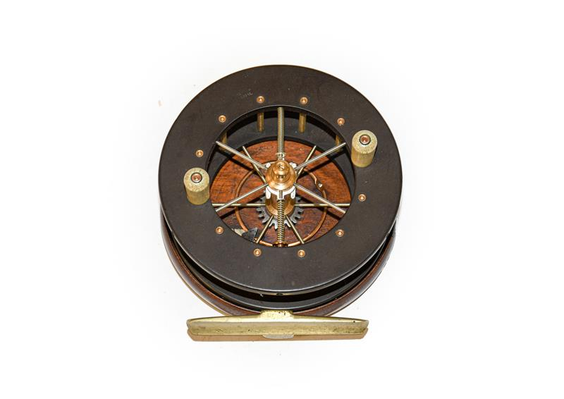 An Allcocks Coxon Aerial model 4108A Six Spoke 4'' Centrepin Reel. Wooden backplate and ebonite - Image 2 of 8