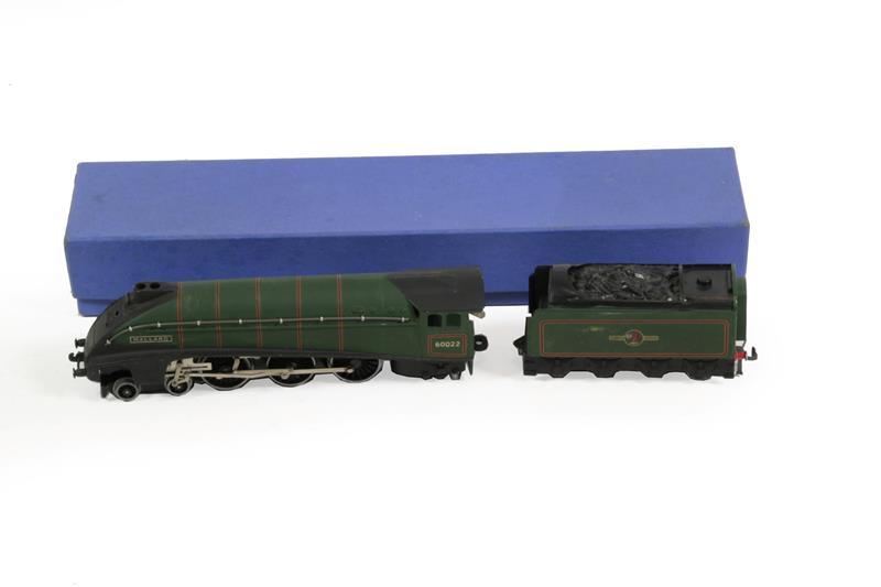 Hornby Dublo 3 Rail 3211 Mallard BR 60022 plastic wheels to trailing pony (E, some wear to side on