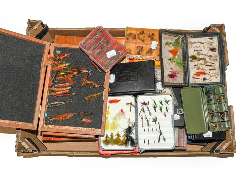 A Collection Of Various Fly Boxes And Reservoirs by various makers including Hardy, Shakespeare,